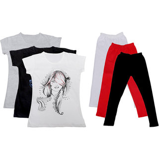 Indistar Girls Cotton T-Shirts With Cotton Leggings (Pack of 3 T-Shirts 3 Leggings)WhiteBlackWhiteWhiteRedBlack30