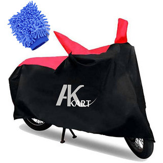 Ak Kart Black  Red Bike Body Cover With Microfiber Vehicle Washing Hand Cloth For Mahindra Gusto