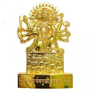 Attractive Brass Metal Handmade Panchmukhi Hanuman Statue