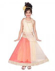 P R Enterprises Girls Cream And orange Lahanga choli