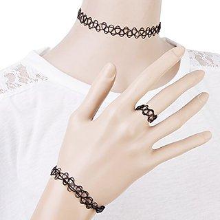 Elegant and stunning black choker necklace set for women
