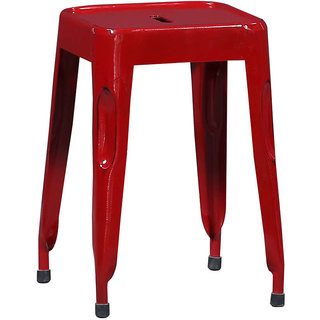Metal Seating Red Colour Stool