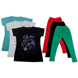 IndiWeaves Girls Cotton T-Shirts With Cotton Leggings (Pack of 3 T-Shirts 3 Leggings)BlueWhiteBlackRedBlackGreen30