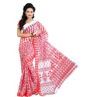 Fashionoma Red & White Cotton Printed Saree With Blouse