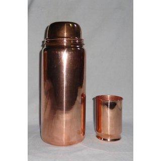 Laxman Enterprises 1.8 Ltr Big Size Copper Water Bottle and Glass 1 Pieces