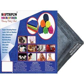 SOFTSPUN Microfiber Car Cleaning Polishing  Detailing Towel Cloth  30X30 Cms  GREY 4Pc