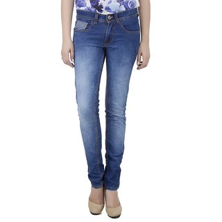 Ladies Blue Cotton Lycra Jeans