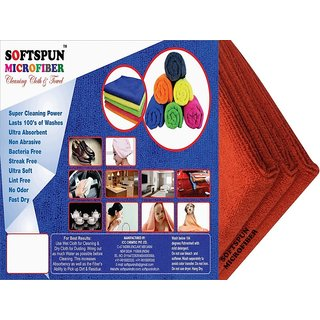 SOFTSPUN Microfiber Car Cleaning, Polishing  Detailing Towel Cloth - 30X30 Cms - RED -3Pc