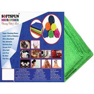 SOFTSPUN Microfiber Car Cleaning Polishing  Detailing Towel Cloth  50X50 Cms  GREEN 3Pc