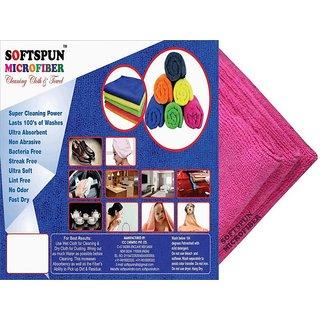 SOFTSPUN Microfiber Car Cleaning, Polishing  Detailing Towel Cloth - 50X50 Cms - PINK -3Pc