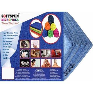 SOFTSPUN Microfiber Car Cleaning, Polishing  Detailing Towel Cloth - 30X30 Cms - SKYBLUE -5Pc