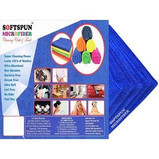 SOFTSPUN Microfiber Car Cleaning Polishing Detailing Towel Cloth - 50X50 Cms - BLUE -5Pc