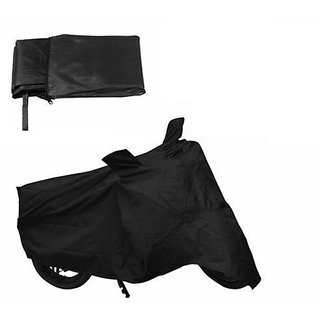 Bike Body Cover (Black) With Mirror Pocket for for Bajaj Discover 150F