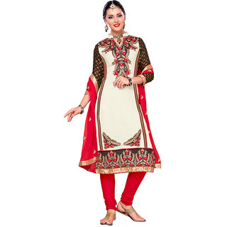 Tami Beautiful White Georgette Unstitched Dress Material With Chiffon Dupatta