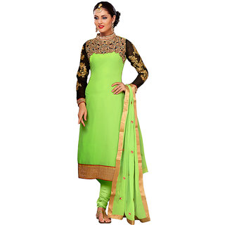Tami Beautiful Green Georgette Unstitched Dress Material With Chiffon Dupatta