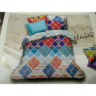 Akash Ganga Multicolor Cotton Double Bedsheet with 2 Pillow Covers (HAR-06)