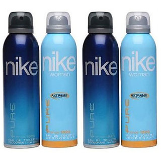 Nike Deodorants 2 Pure for Man 2 Pure for Women 200ml Each (Pack of 4)