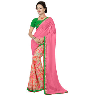 Fashionoma Multicolor Georgette Printed Saree With Blouse