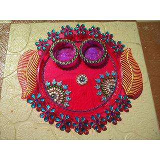 Floating Diye, Pooja Thali, Acrylic Rangoli