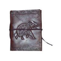 Leather  Elephant Bound Pocket Journal Traveler Note Sketchbook W/Handmade Paper