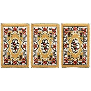 Houzfull Velvet Medium Floor Mat Trendy(Multicolor, 3 Door mats in attractive colors)