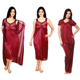 RamE--Mahroon colou satin 4 PC Sexy Night Wear Nighty Womens Sleepware fd43292fb