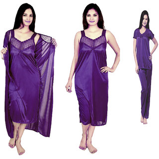 RamE--Puurple  colour satin 4 PC  Sexy Night Wear Nighty Womens Sleepware, night suits Gown for Ladies