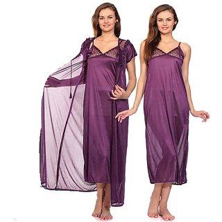 RamE-2 PC Bridal  Satin Purple Colour nighty ,gown ,night wear ,night dress,night suits
