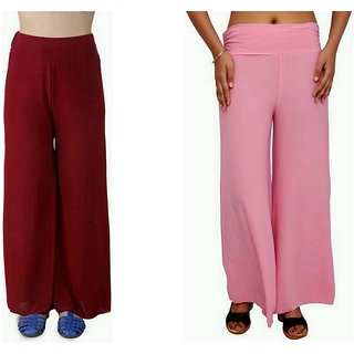RamE-Regular Fit Women's Maroon, Pink Trousers,Palazzo