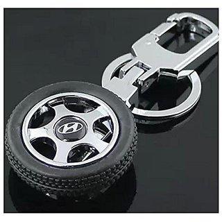 AutoStark Spinning Tyre Rotary Wheel Locking Metal Keychain / Keyring / Key Ring / Key Chain