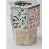 Hexagon Shaped Stone Carved Tea Light Lamp