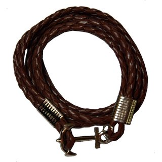 Men Style Multi-Layer  Cable-Wire Rope Leather Anchor (SILVER)  Brown  Leather Anchor Bracelet For Men And Women