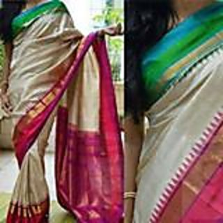 Hansvi Collections Cream Handloom Plain Saree With Blouse