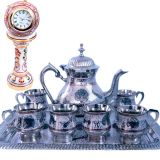 Buy White Metal Meenakari Royal Tea Set N Get Marble Clock Free