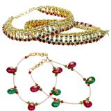Buy Golden Kundan Brass Payal N Get Another Colourful Payal Free