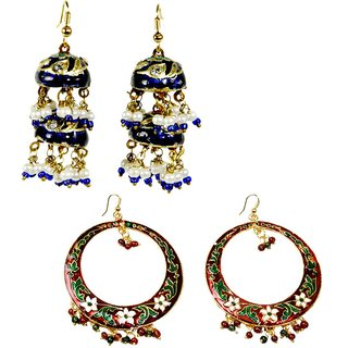 Buy Red Green Jaipuri Meenakari Brass Earring N Get Blue Earring Free