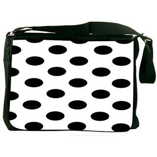 Snoogg White Polka Dot Digitally Printed Laptop Messenger  Bag