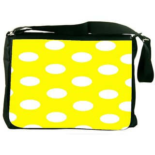 Snoogg Yellow Polka Dot Digitally Printed Laptop Messenger  Bag