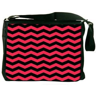 Snoogg Black And Pink Waves 2568 Digitally Printed Laptop Messenger  Bag