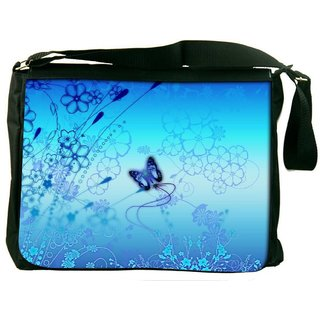 Snoogg Blue Buttefly And Flowers 2593 Digitally Printed Laptop Messenger  Bag