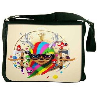 Snoogg Deer Hipster Girl 2620 Digitally Printed Laptop Messenger  Bag