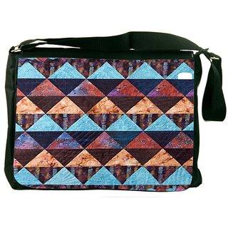 Snoogg Aztec Pattern Maroon Blue Digitally Printed Laptop Messenger  Bag