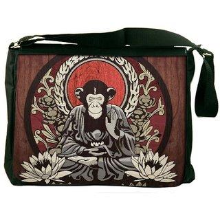 Snoogg Meditating Monkey 2656 Digitally Printed Laptop Messenger  Bag