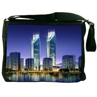 Snoogg Skyscrapers In The Bay 2696 Digitally Printed Laptop Messenger  Bag