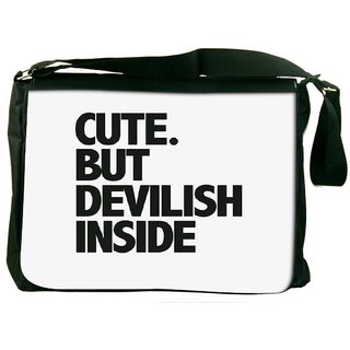 Snoogg Cute But Devilish Inside Designer Laptop Messenger Bag