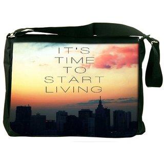 Snoogg Its Time To Start Living Designer Laptop Messenger Bag