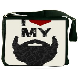 Snoogg I Love My Beard 2766 Digitally Printed Laptop Messenger  Bag