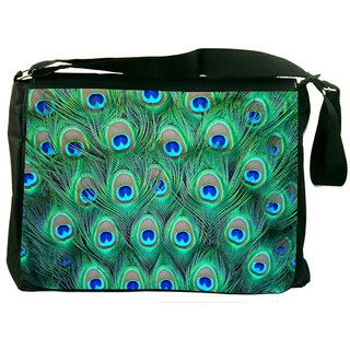Snoogg Peacock Pattern 2 Digitally Printed Laptop Messenger  Bag