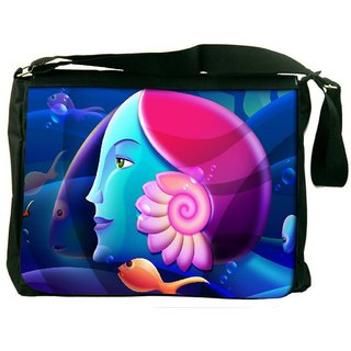 Snoogg Mermaid Head 2879 Digitally Printed Laptop Messenger  Bag