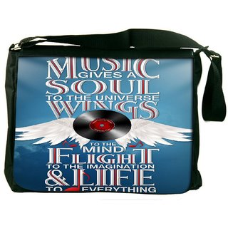 Snoogg Music Typography 2886 Digitally Printed Laptop Messenger  Bag